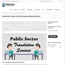 Huge Scope of Professional Public Sector Translation