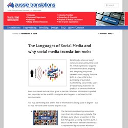 The Languages of Social Media and why social media translation rocks