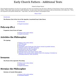 Early Church Fathers - Additional Works in English Translation u