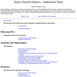 Early Church Fathers - Additional Works in English Translation unavailable elsewhere online