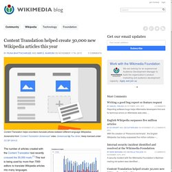 Content Translation helped create 30,000 new Wikipedia articles this year