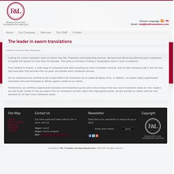Sworn Translations Services – F&LTranslations