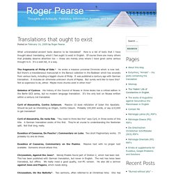 Translations that ought to exist – Roger Pearse