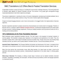 M&C Translations LLC Offers Best & Fastest Translation Services