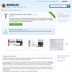 Google Translator for Firefox :: Modules pour Firefox