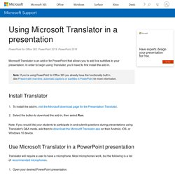 Using Microsoft Translator in a presentation - PowerPoint