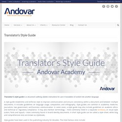 Translator's Style Guide - Andovar