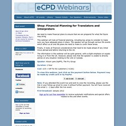 Financial Planning for Translators and Interpreters