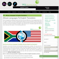 African Languages To English Translation