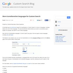 More transliteration languages for Custom Search