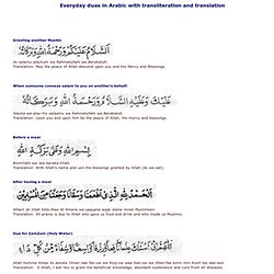 Everyday duas in Arabic with transliteration and translation