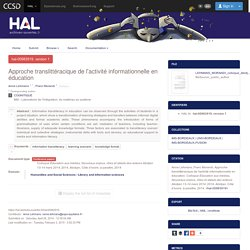 Approche translittéracique de l'activité informationnelle en éducation