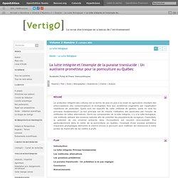 VERTIGO - OCT 2001 - La lutte intégrée et l'exemple de la punaise translucide : Un auxiliaire prometteur pour la pomiculture au