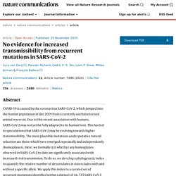 No evidence for increased transmissibility from recurrent mutations in SARS-CoV-2