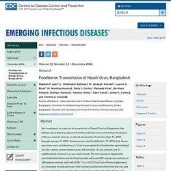 CDC EID - DEC 2006 - Foodborne transmission of Nipah virus, Bangladesh.