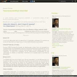Transmission borréliose mère/enfant - Maladie de Lyme chronique ou neuro borréliose
