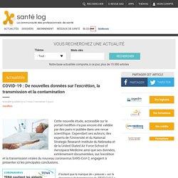 Site Santélog : COVID-19 : De nouvelles données sur l'excrétion, la transmission et la contamination