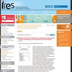 Réseaux de savoirs. Production et transmission des savoirs à l'ère du numérique et de l'économie de la contribution - IRES