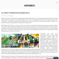 All about Transmission Rubber Belts – gatesvbelts
