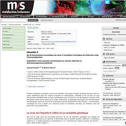n° 12 Hépatite E : de la transmission zoonotique du virus à l'évolution chronique