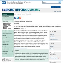 CDC EID – DEC 2012 – Au sommaire: Sheep-to-Human Transmission of Orf Virus during Eid al-Adha Religious Practices, France