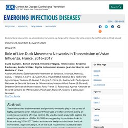 CDC EID - MARS 2020 - Role of Live-Duck Movement Networks in Transmission of Avian Influenza, France, 2016–2017