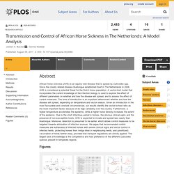 PLOS 05/08/11 Transmission and Control of African Horse Sickness in The Netherlands: A Model Analysis