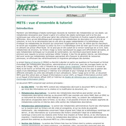METS : vue d'ensemble et tutoriel : Metadata Encoding and Transmission Standard (METS) OfficialWeb Site