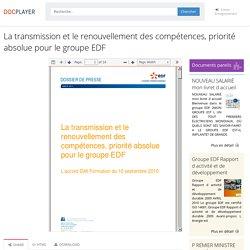 ⭐La transmission et le renouvellement des compétences, priorité absolue pour le groupe EDF