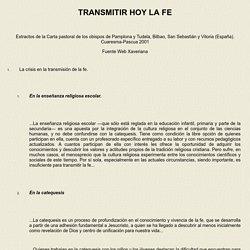 TRANSMITIR HOY LA FE