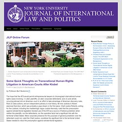 Some Quick Thoughts on Transnational Human Rights Litigation in American Courts After Kiobel