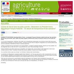 """AFP 11/02/13 Viande de cheval dans les plats cuisinés - Déclaration du Président de la République François Hollande : """"Un devoir"""