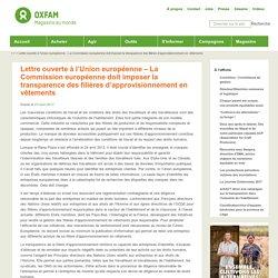 Lettre ouverte à l'Union européenne – La Commission européenne doit imposer la transparence des filières d'approvisionnement en vêtements