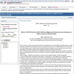 2012-557 du 24 avril 2012 relatif aux obligations de transparence des entreprises en matière sociale et environnementale