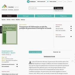 Transparence de l'information au sujet des pratiques de gouvernance d'entreprise au Canada