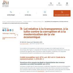 Loi relative à la transparence, à la lutte contre la corruption et à la modernisation de la vie économique - ANIL