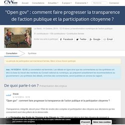 """Open gov"" : comment faire progresser la transparence de l'action publique et la participation citoyenne ?"