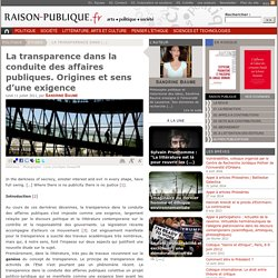 La transparence dans la conduite des affaires publiques. Origines et sens d'une exigence