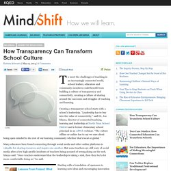 How Transparency Can Transform School Culture