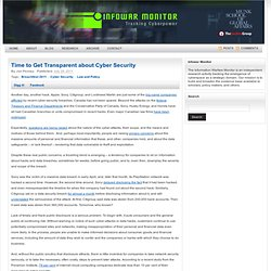Time to Get Transparent about Cyber Security
