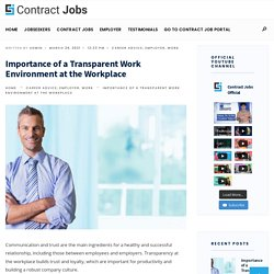 Importance of Transparent Work Environment at the Workplace