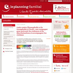 Planning familial : Lutte contre l'homophobie et la transphobie à l'école