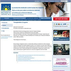 Dossier - Transplantation d'organes - sommaire