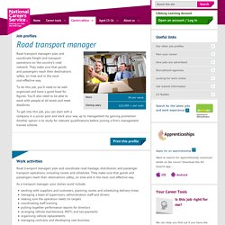 Road transport manager Job Information