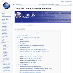 Transport Layer Protection Cheat Sheet