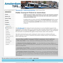 Public Transport Ticket Types in Amsterdam Netherlands