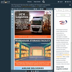 Get Transport Services By Leading UK Transport Companies