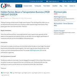 Hidden Factors About a Transportation Business