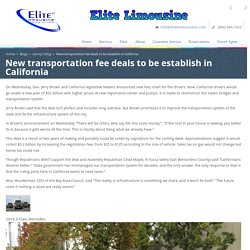 New transportation fee deals to be establish in California