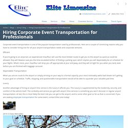 Hiring Corporate Event Transportation for Professionals